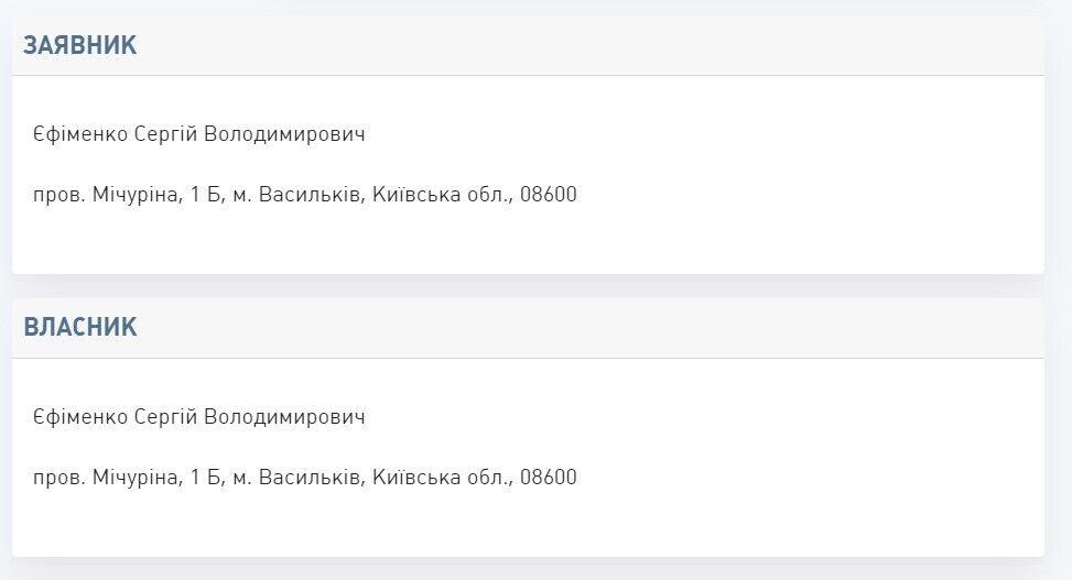 Данные о владельце ТМ.