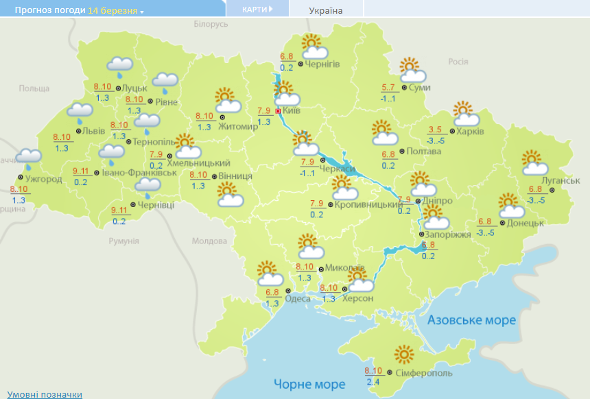 Прогноз погоди в Україні на неділю