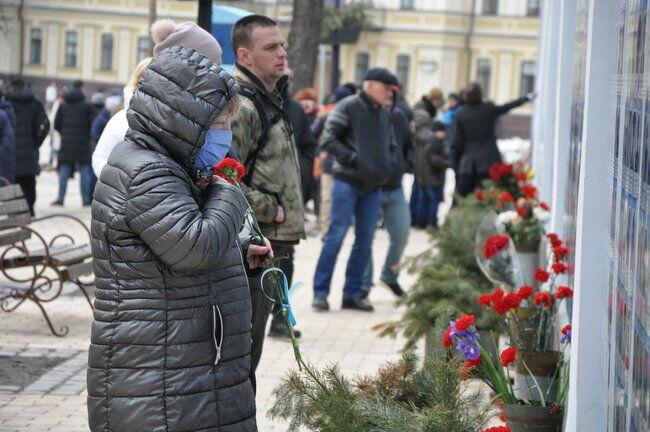 Чествование украинских защитников на Михайловской площади