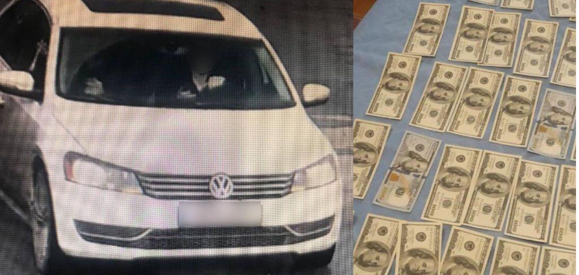 Автомобіль шахраїв і гроші, які вони виманили. Колаж із фото поліції Київської області