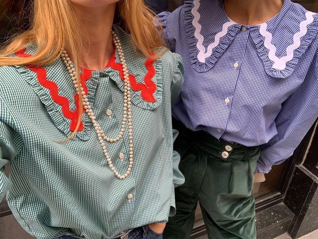 Модная блуза с воротником