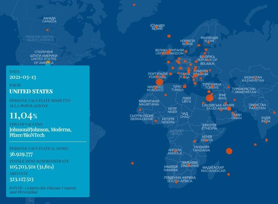 Дані щодо вакцинації проти коронавірусу в США