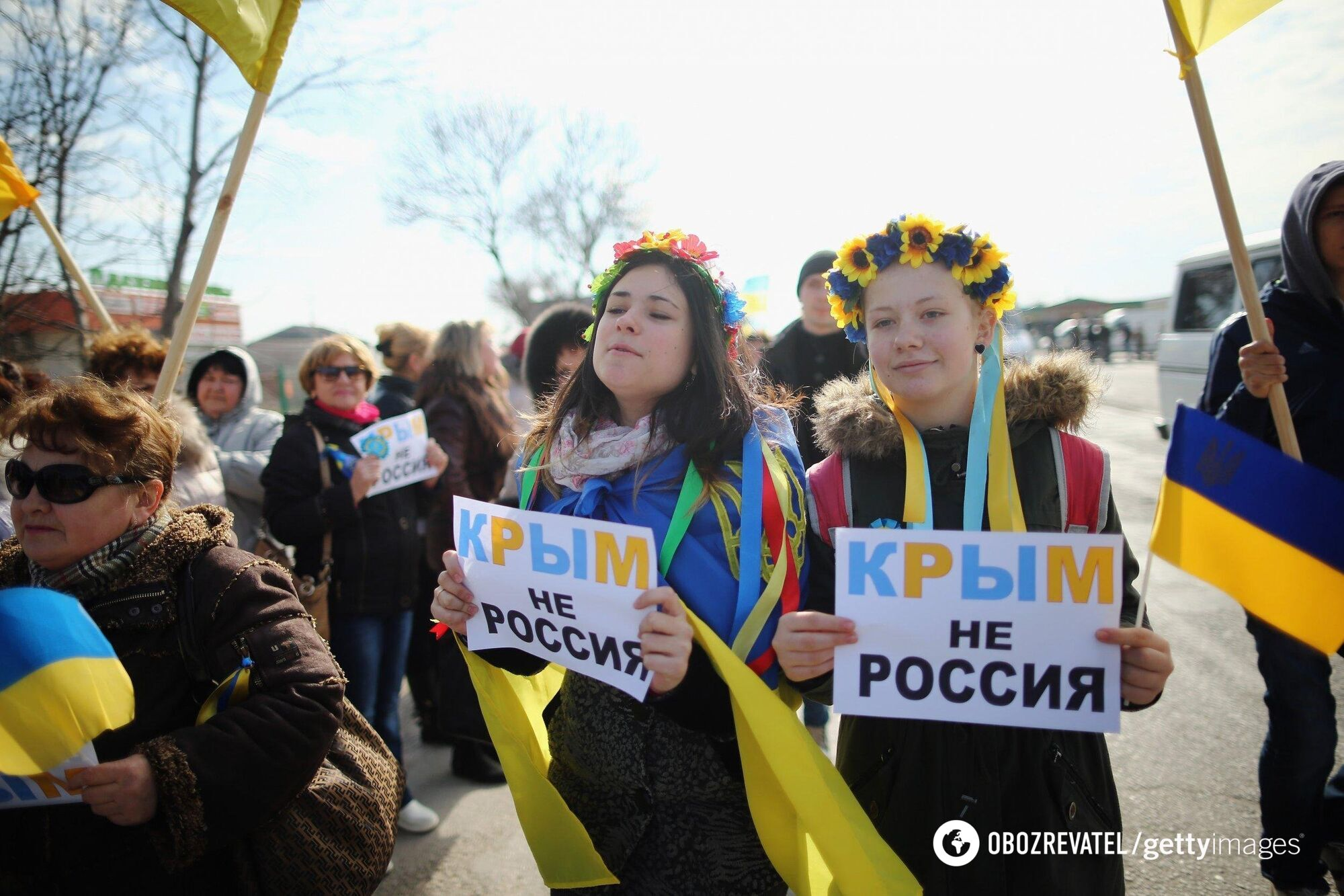 Акция протеста против лжереферендума в Крыму, 14 марта 2014 года, Симферополь