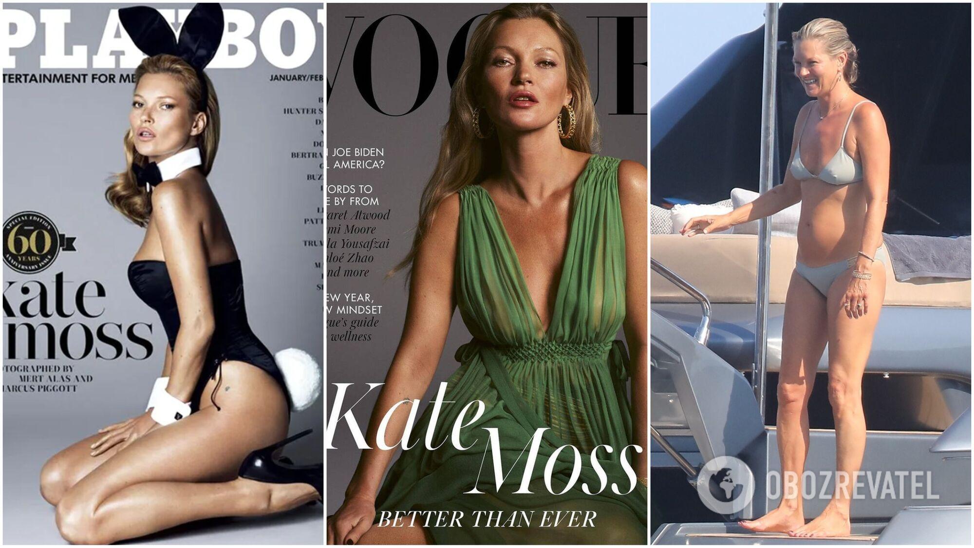 Кейт Мосс на обкладинці журналу Playboy в 2013 році, на обкладинці Vogue наприкінці 2020 року і зараз