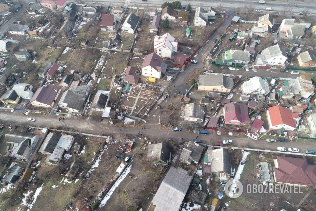 Наслідки вибуху в Боярці з висоти