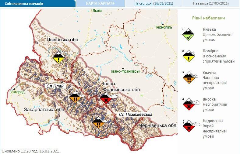 Небезпека сходження лавин в Україні 17 березня.