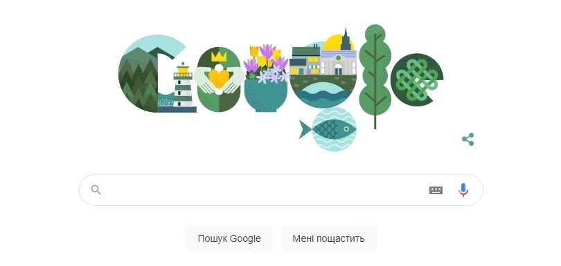Google поздравил украинцев с Днем святого Патрика зеленым дудлом