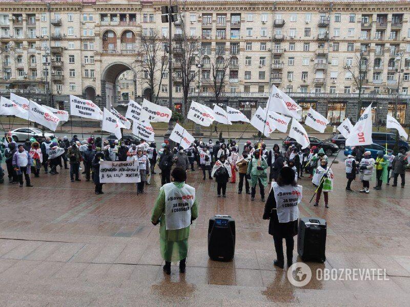 На митинг собралось 150 человек.