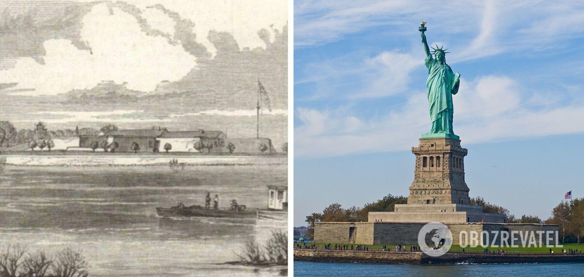 Остров Свободы в Нью-Йорке до и после установки статуи Свободы.