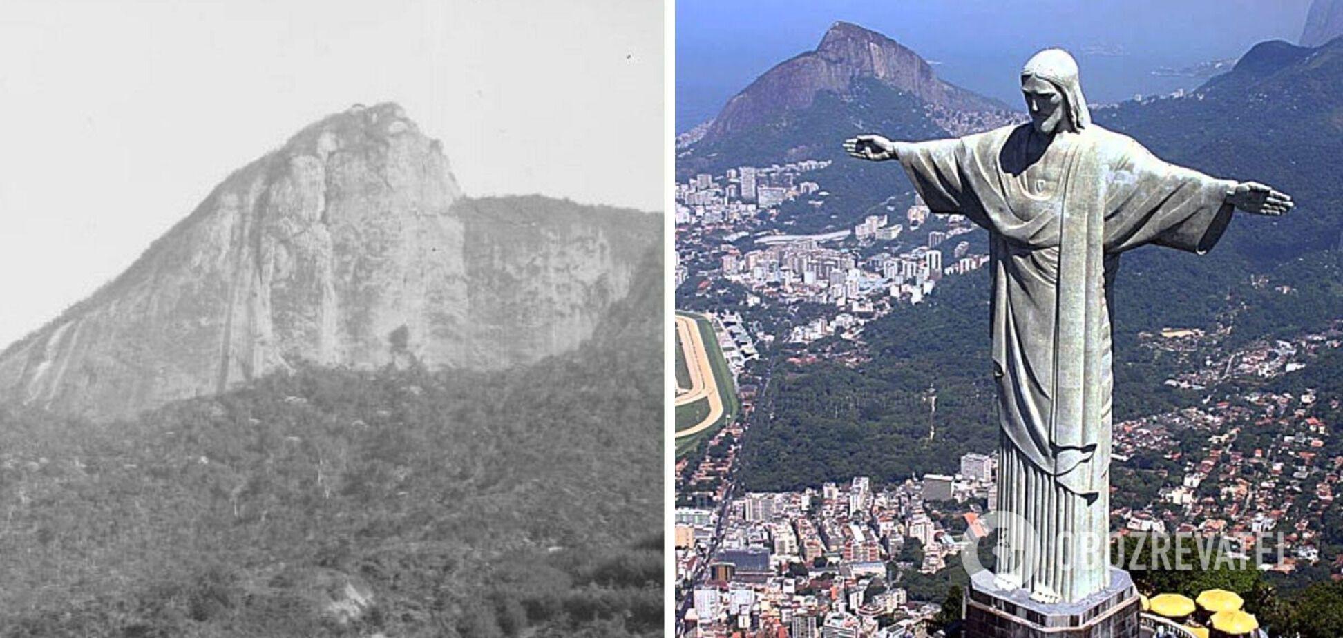 Рио-де-Жанейро до и после установки статуи Христа-Искупителя.