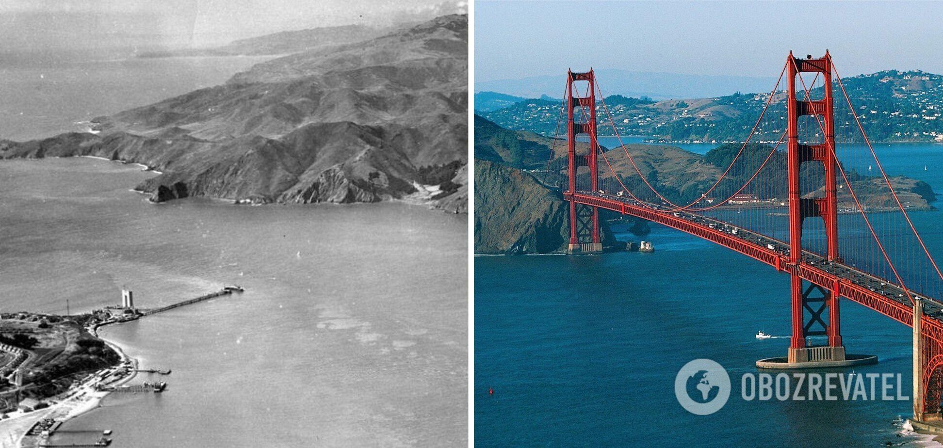 Сан-Франциско до и после строительства моста Золотые ворота.