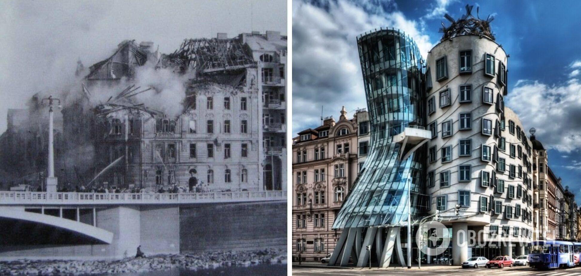 Прага во время войны и после строительства Танцующего дома.
