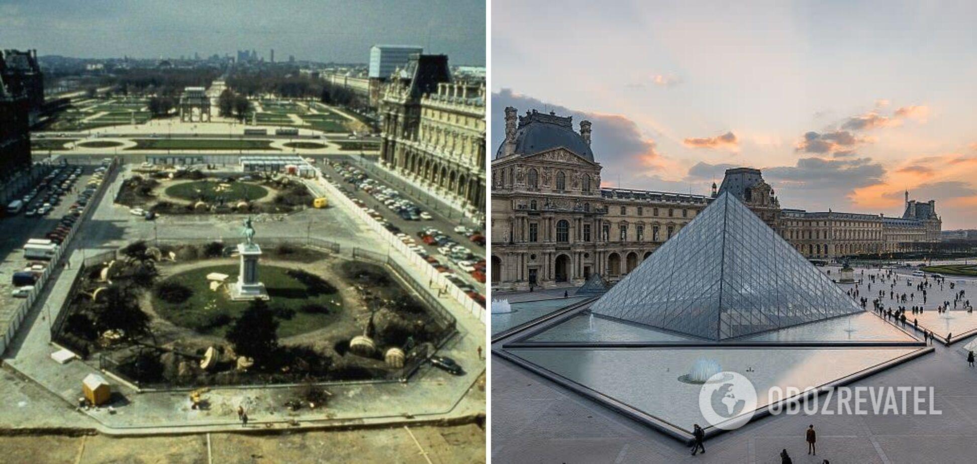 Музей Лувра в Париже до и после строительства пирамиды.