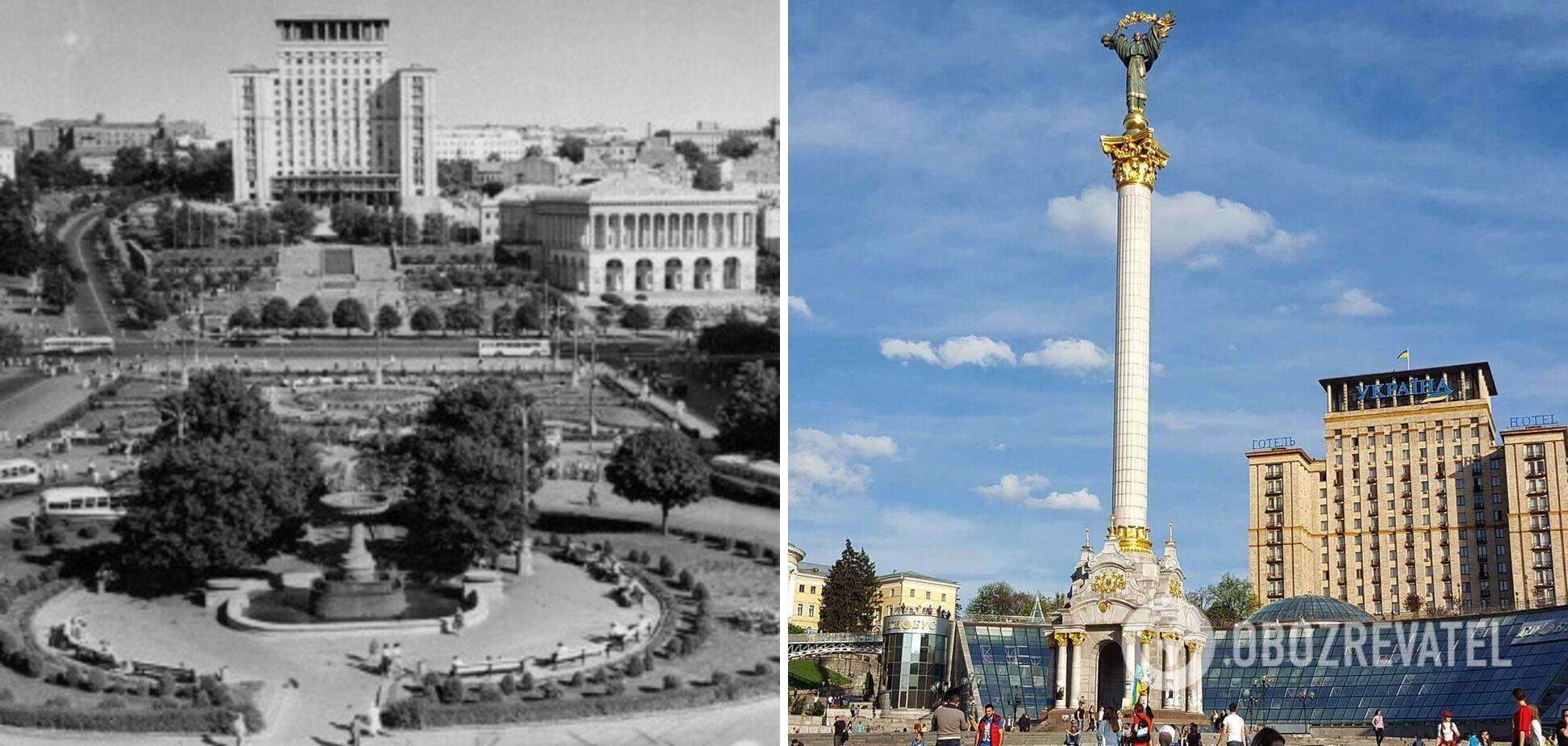 Крещатик до и после установки монумента Независимости в Киеве.