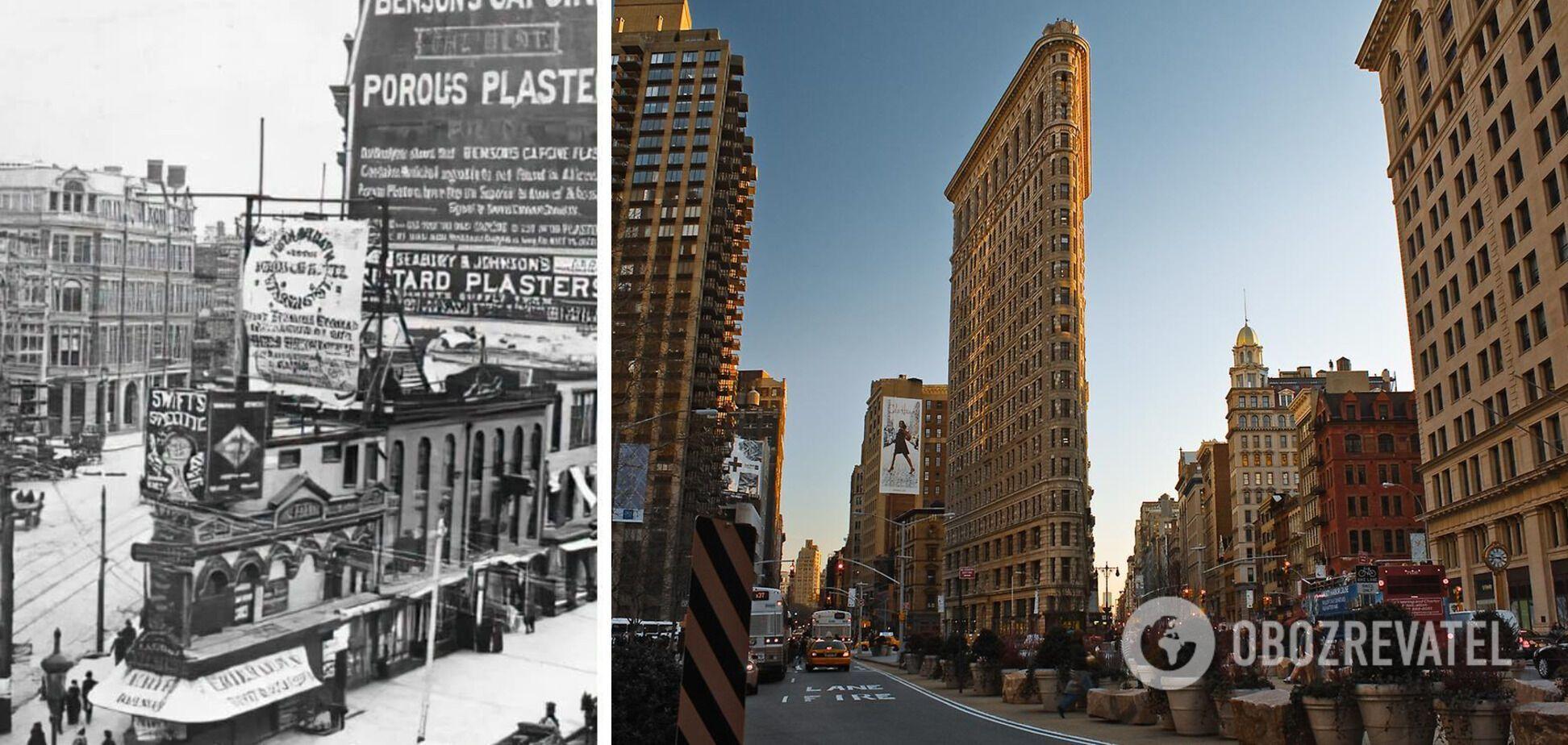 Нью-Йорк до и после строительства Флетайрон-билдинг.