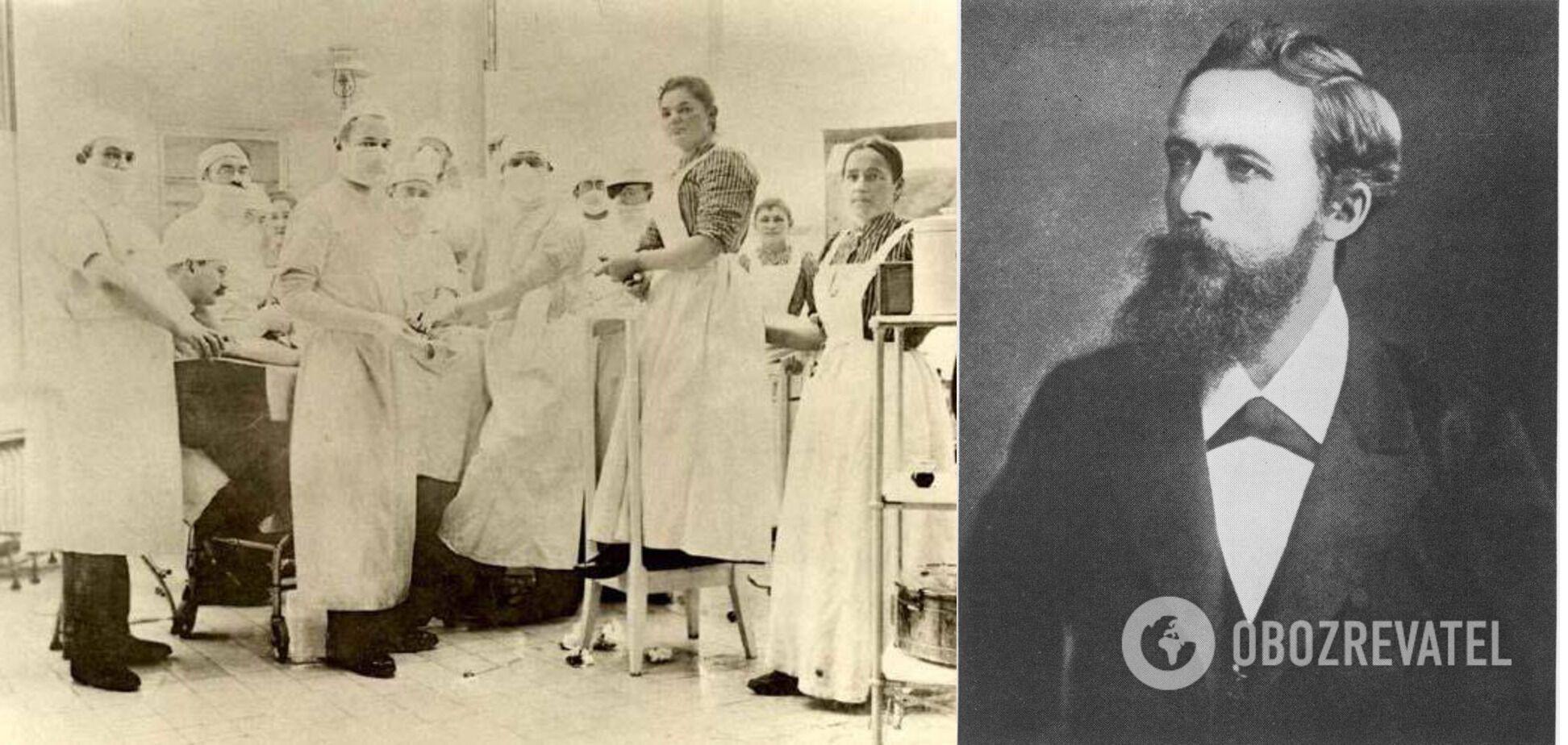 Ян Мікуліч-Радецький (у центрі) на чолі першої у світі операційної бригади, яка працювала в масках і рукавичках, 1899 рік, клініка університету Бреслау
