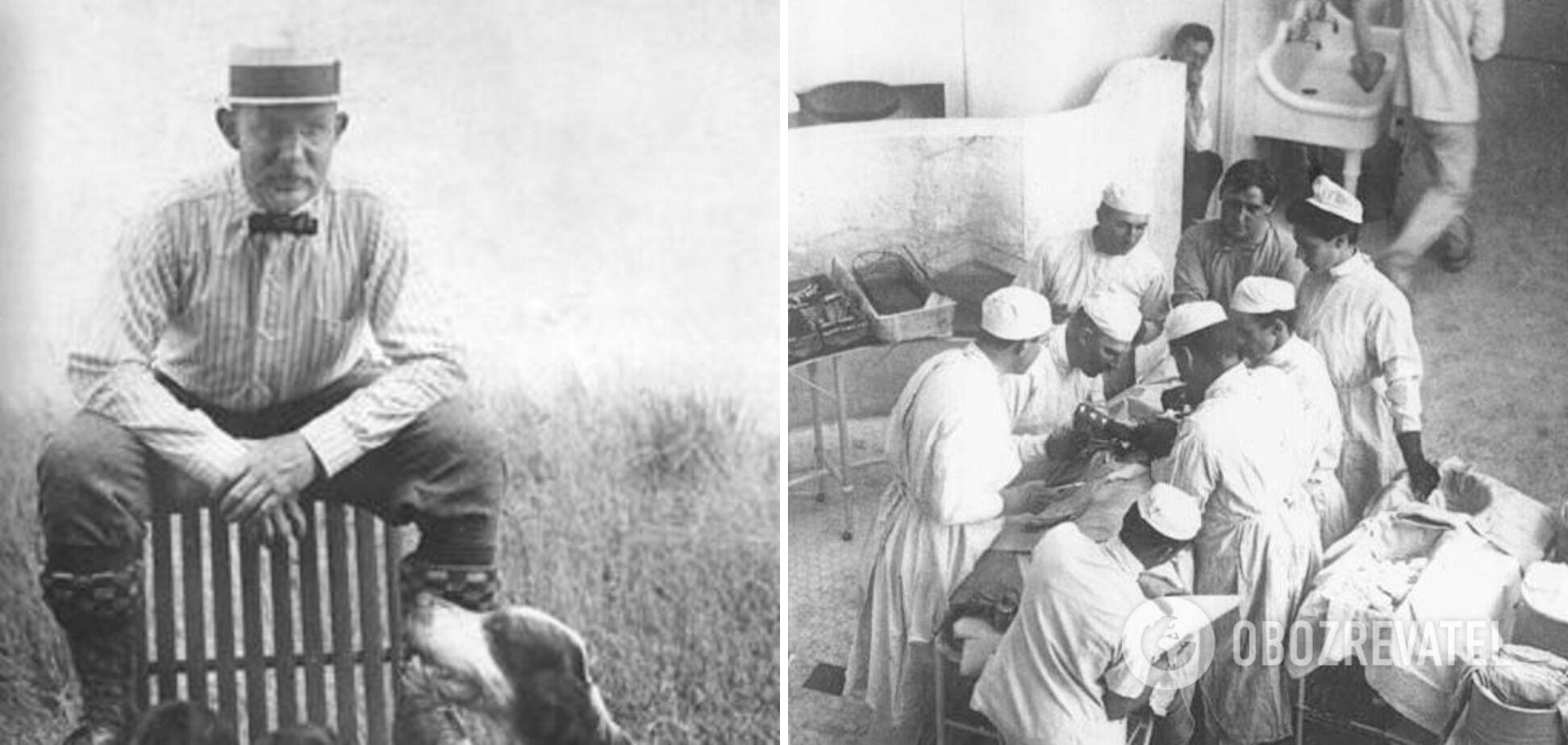 Вільям Холстед із командою оперує в госпіталі Джонса Гопкінса в рукавичках, але без масок, 1904 рік