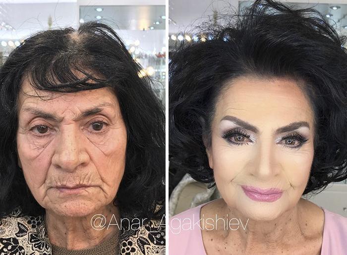 До и после посещения студии красоты Анара Агакишева.