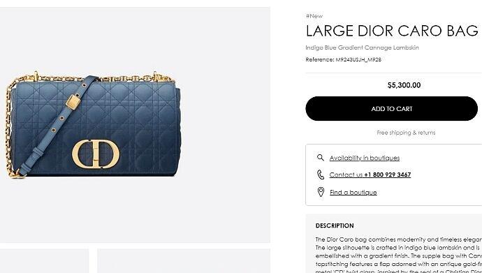 Сумка от Dior стоимостью более 5 тысяч долларов