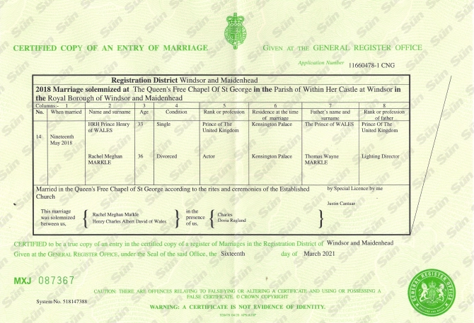 Документ, который подтверждает, что свадьба принца Гарри и Меган Маркл состоялась 19 мая 2018 года