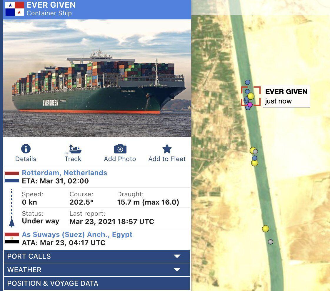 Судно Ever Given у Суецькому каналі заблокувало рух в обох напрямках