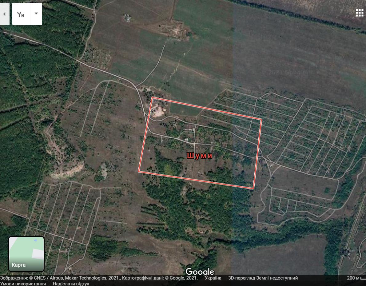 Карта селища Шуми