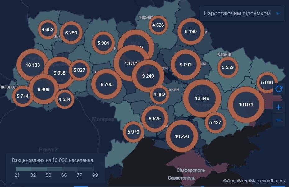 Данные о кампании по вакцинации в Украине
