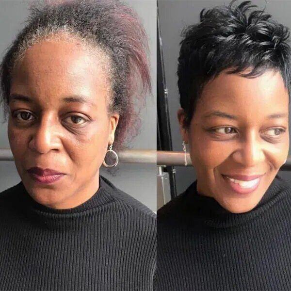 Трендовая короткая прическа помогла женщине выглядеть моложе.