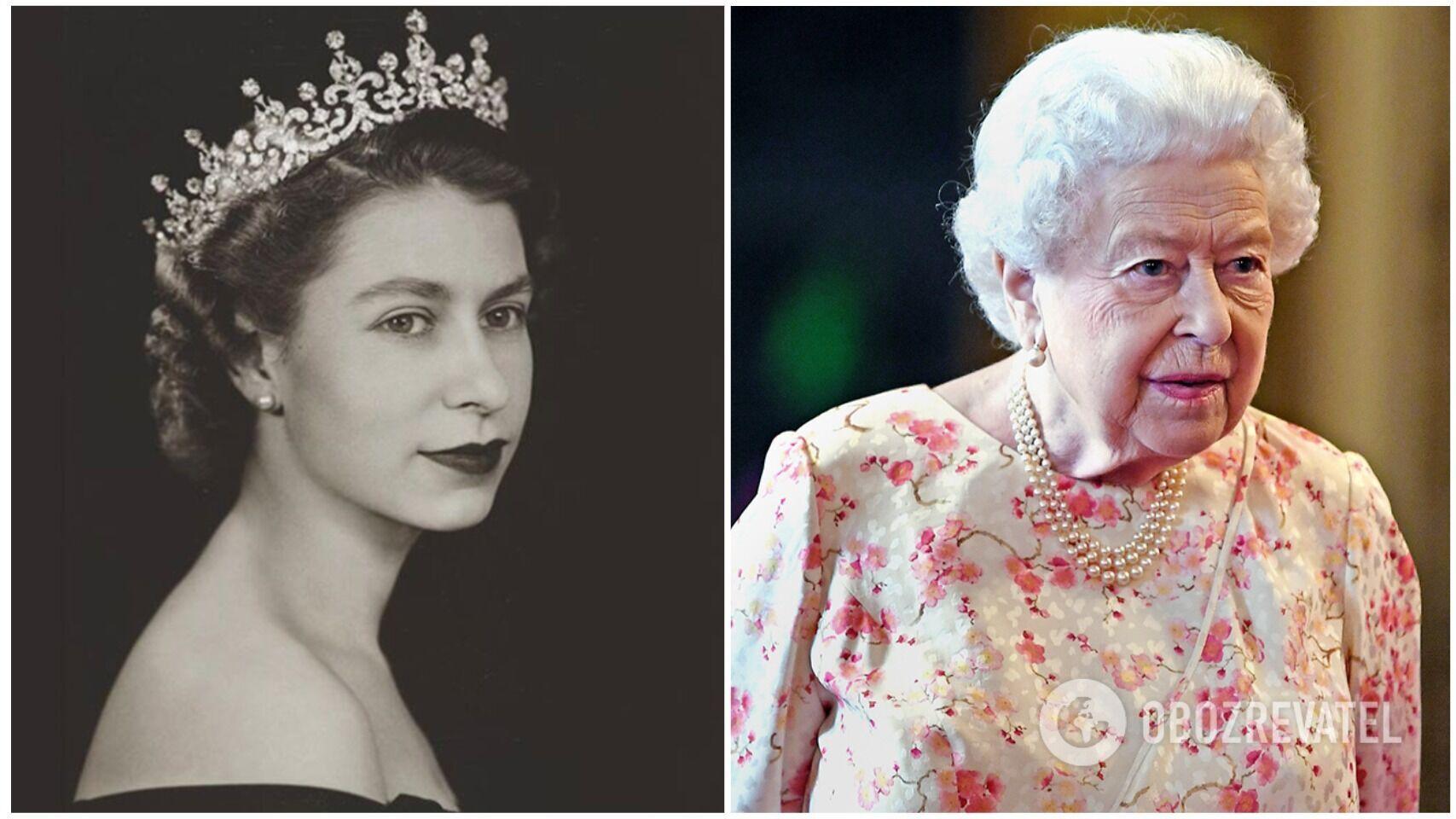 Елизавета II в 1952 году и сейчас