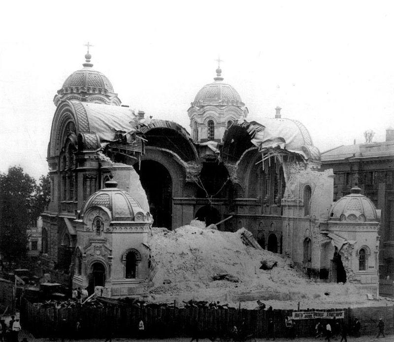 Разрушенный Николаевский собор в Харькове, 1930 год