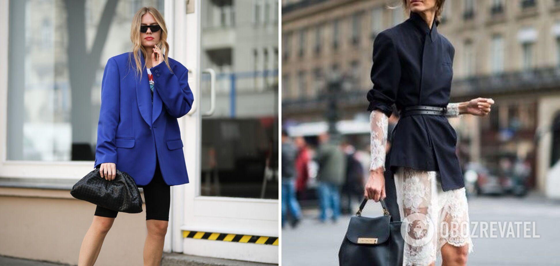 Мужской пиджак может заменить платье.