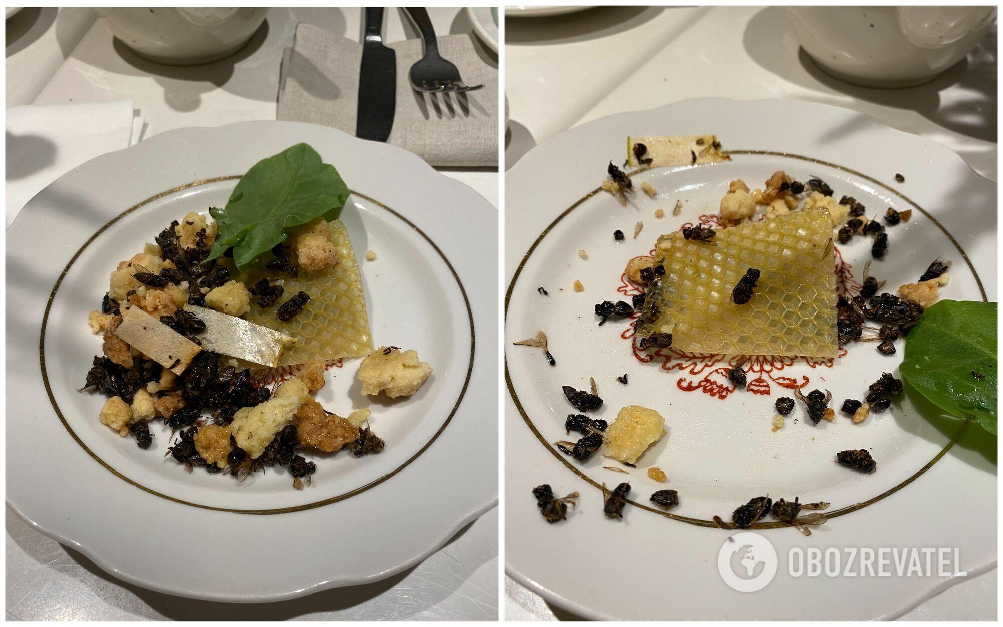 Смажені бджоли подаються прямо разом зі стільником, проте варто їсти їх дуже обережно, щоб не вколотися жалом