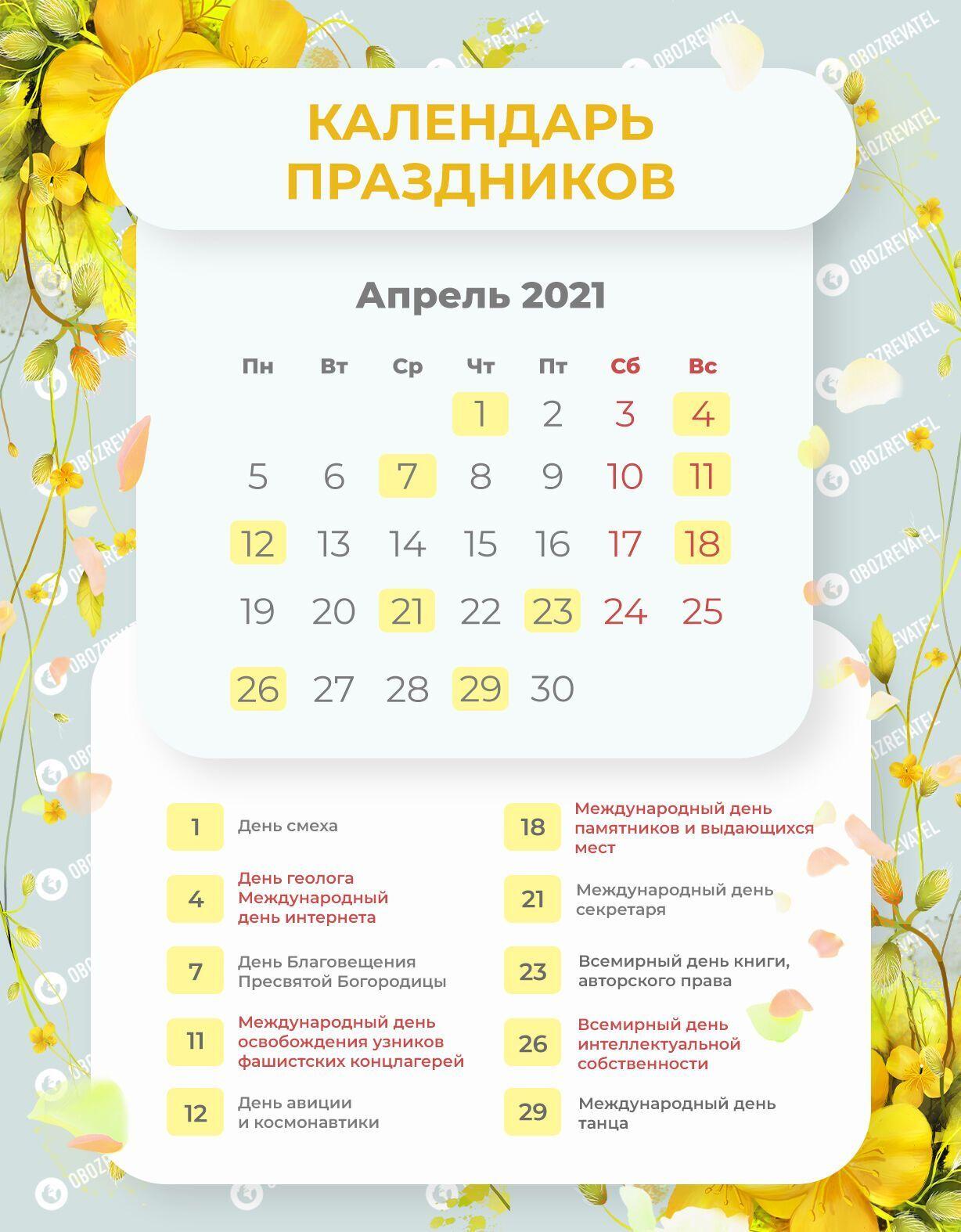 Выходные в апреле 2021 года