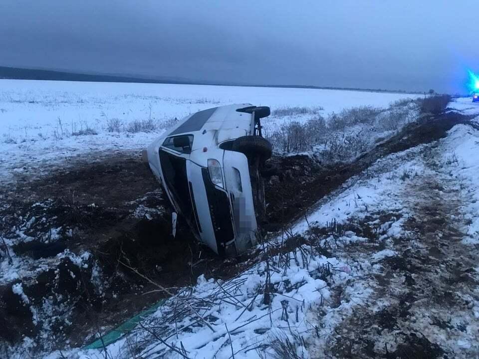 На Луганщині пасажирський автобус вилетів з дороги і перекинувся: багато постраждалих (фото)