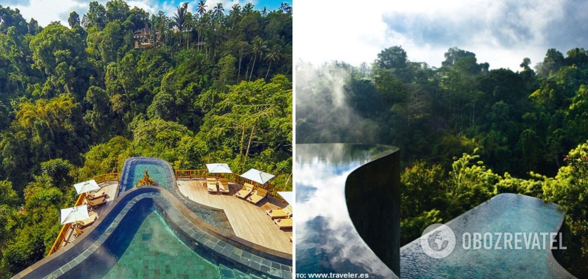 Басейни на острові Балі висять у повітрі над тропічним лісом