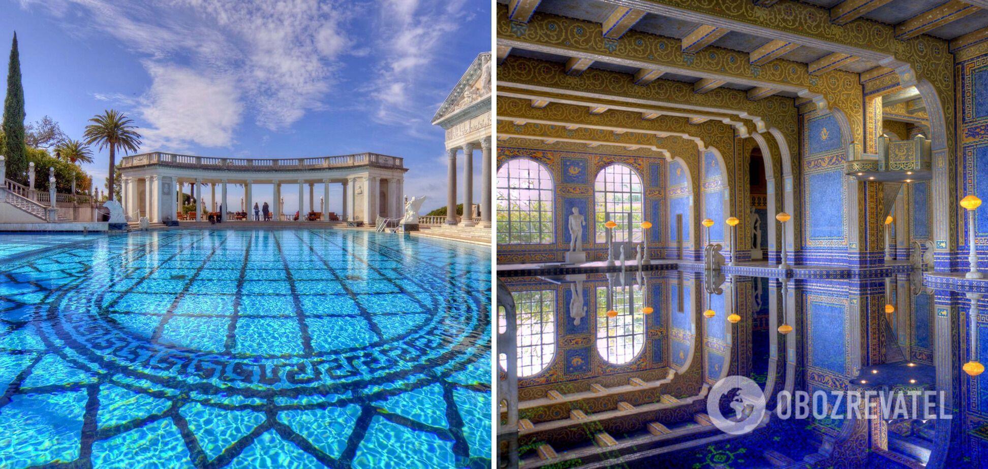 Басейни в замку Херст розташовані на узбережжі Каліфорнії поблизу Лос-Анджелеса.