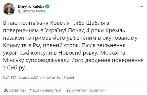 Twitter Дмитра Кулеби.