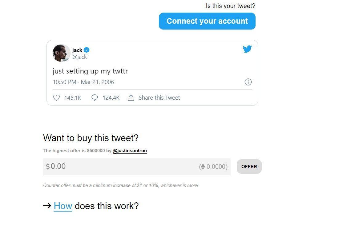 Создатель Twitter продал свой первый твит почти за $3 млн