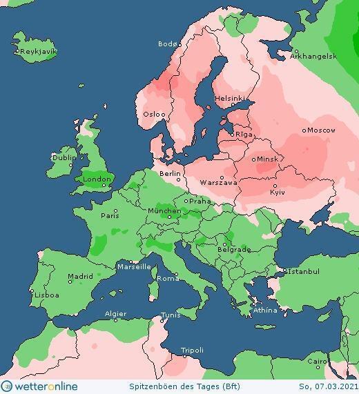 Карта сильного ветра в Украине