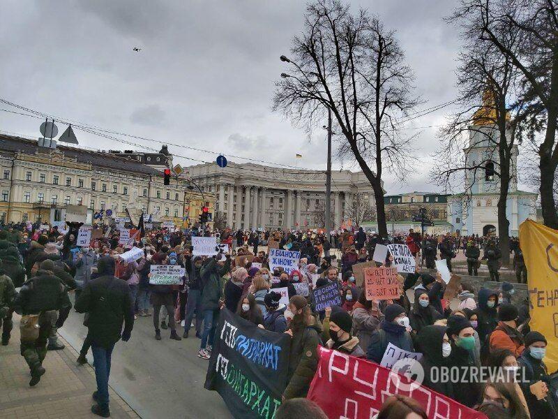 Участники Марша женщин в Киеве