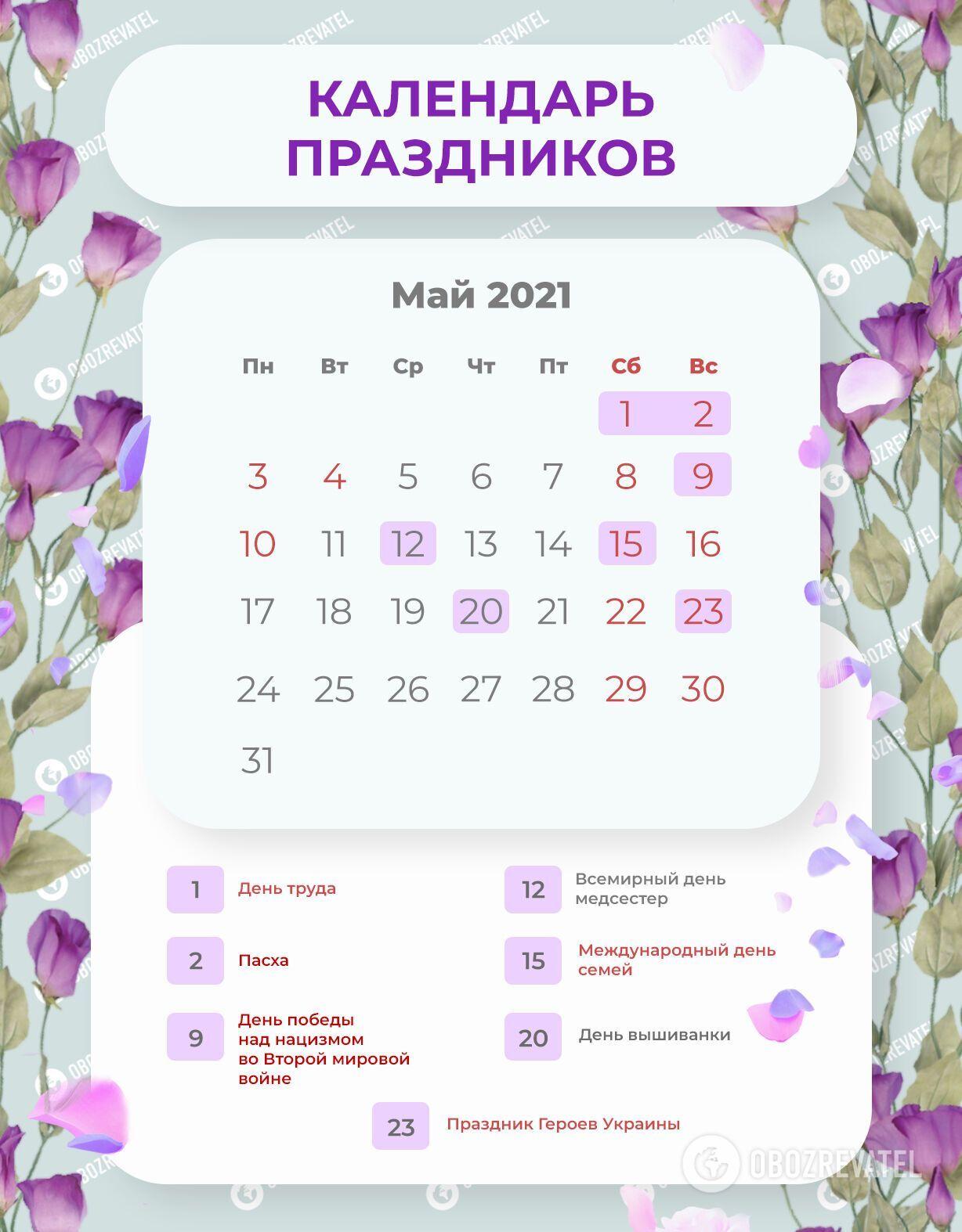 Выходные дни в Украине в мае 2021 года.