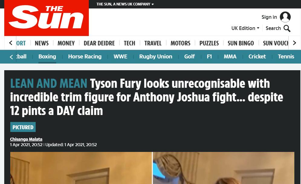 """""""Тайсона Ф'юрі не впізнати, коли вiн демонструє неймовірно струнку фігуру для бою з Джошуа"""""""