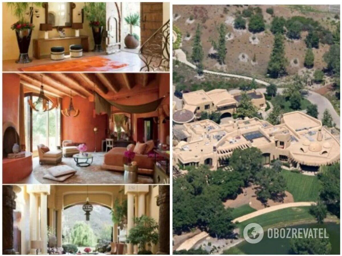 Маєток виконаний у стилі ранчо, а в інтер'єрі з'єднуються цілих три архітектурні стилі