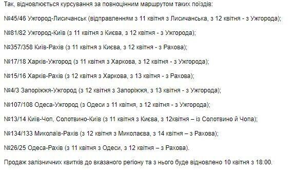Список поездов.