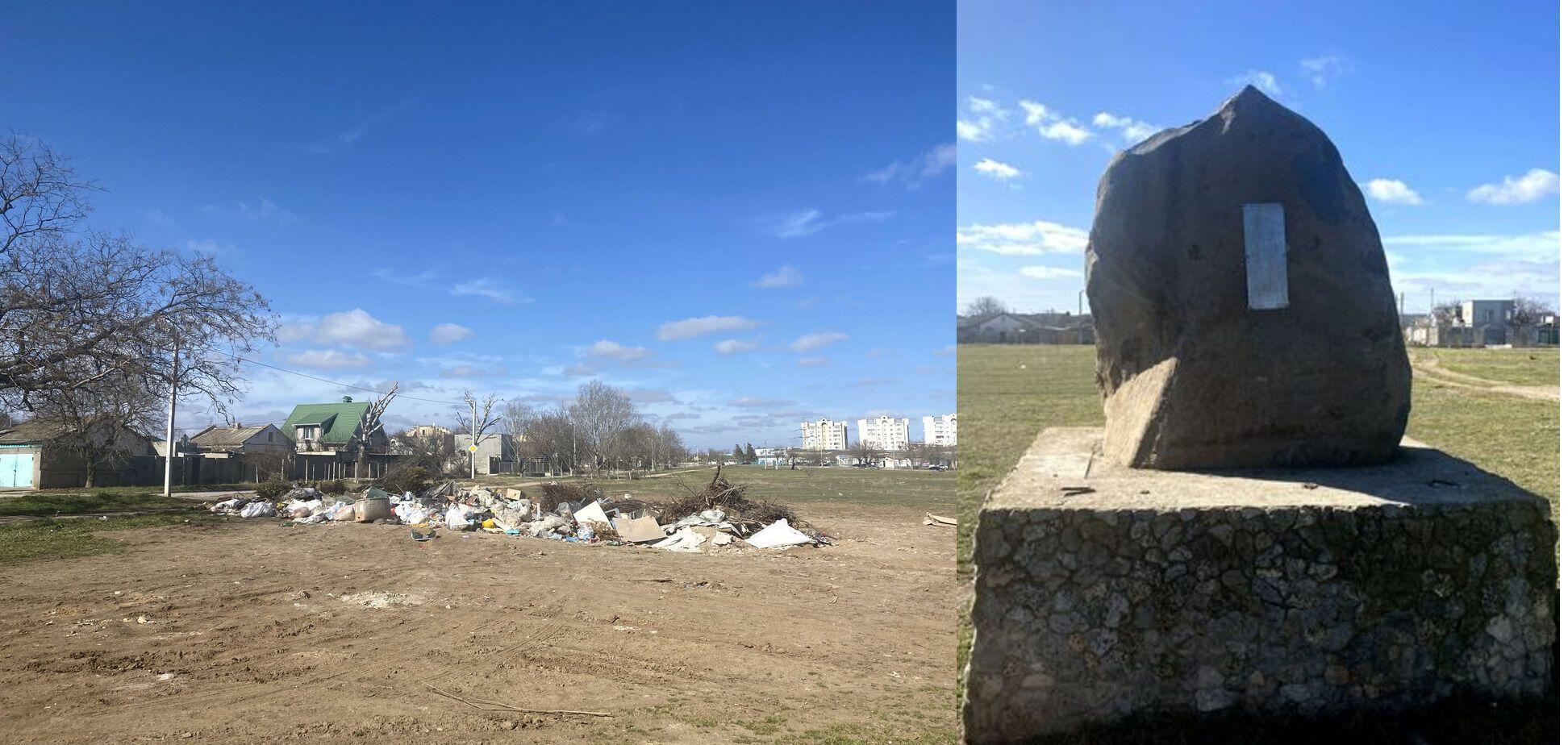 Территория кладбища и памятник.