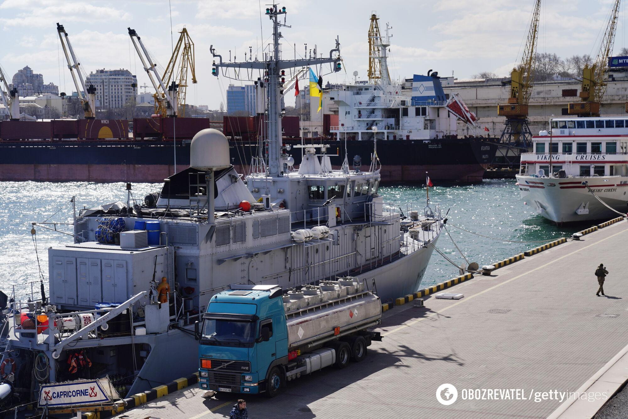 M-653 Capricorne ВМС Франции в морском порту Одессы, март 2019 года