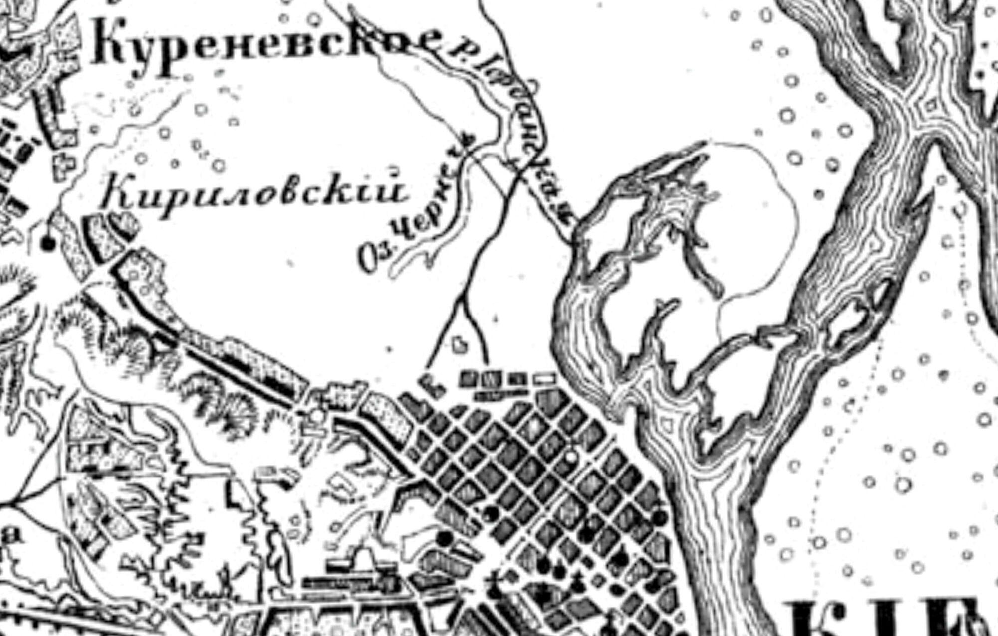 Почайна – река Иорданская и озеро Пичаня на карте 1890 года.