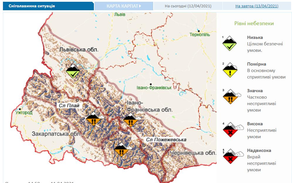 Снеголавинная ситуация в Украине