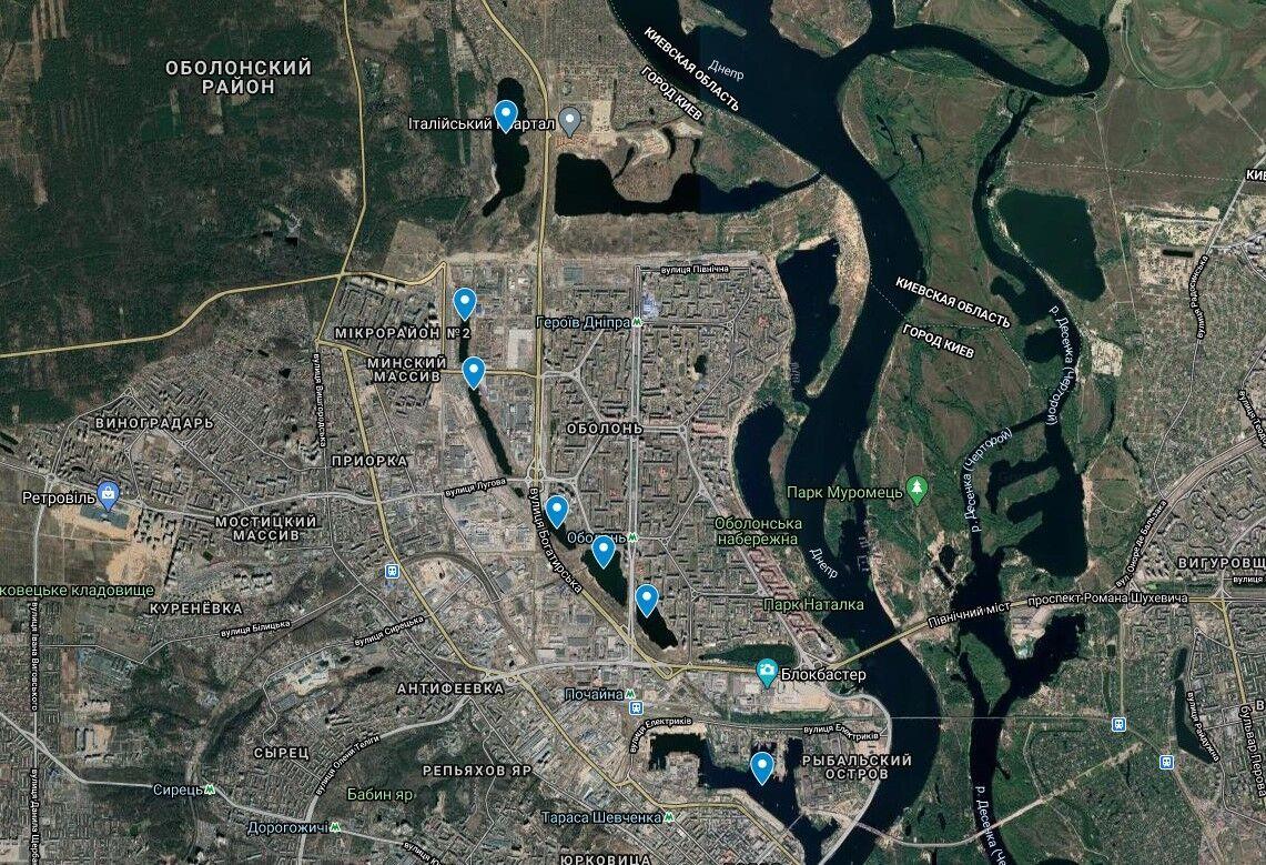 Почайна на карте Киева.