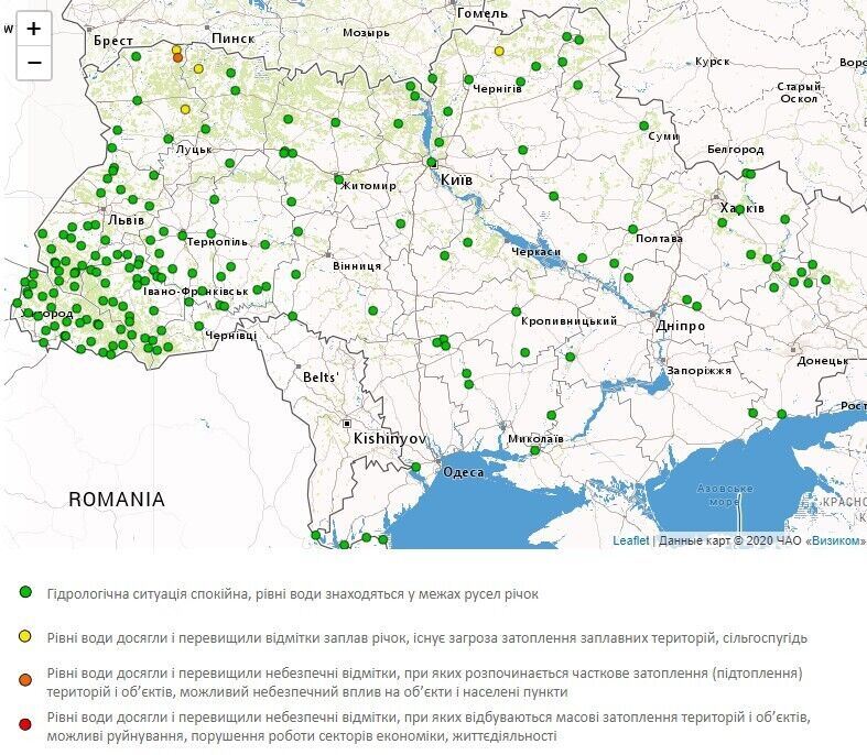 Попередження про підвищення рівня води в Україні 13 квітня.